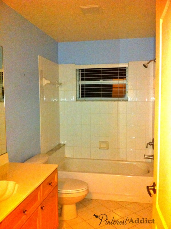 This bathroom was completely builder's grade everything, just like the rest of the house.