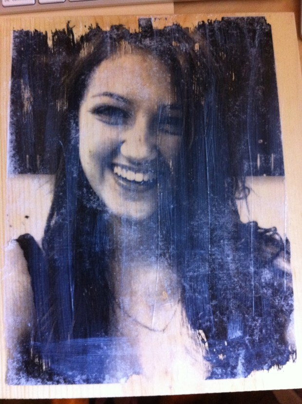 My daughter's picture - photo transfer to wood