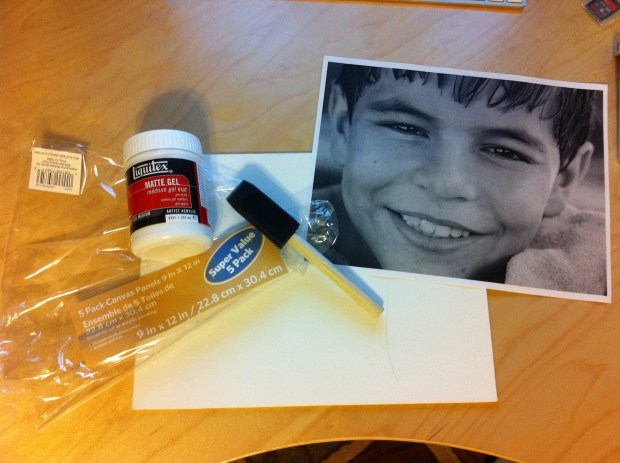 What I used on this project: photo on plain paper, matte gel, canvas, sponge brush
