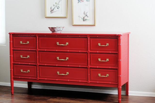 Red and Faux Bamboo by Natty By Design