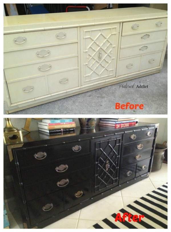 Thomasville Faux Bamboo Buffet Before and After
