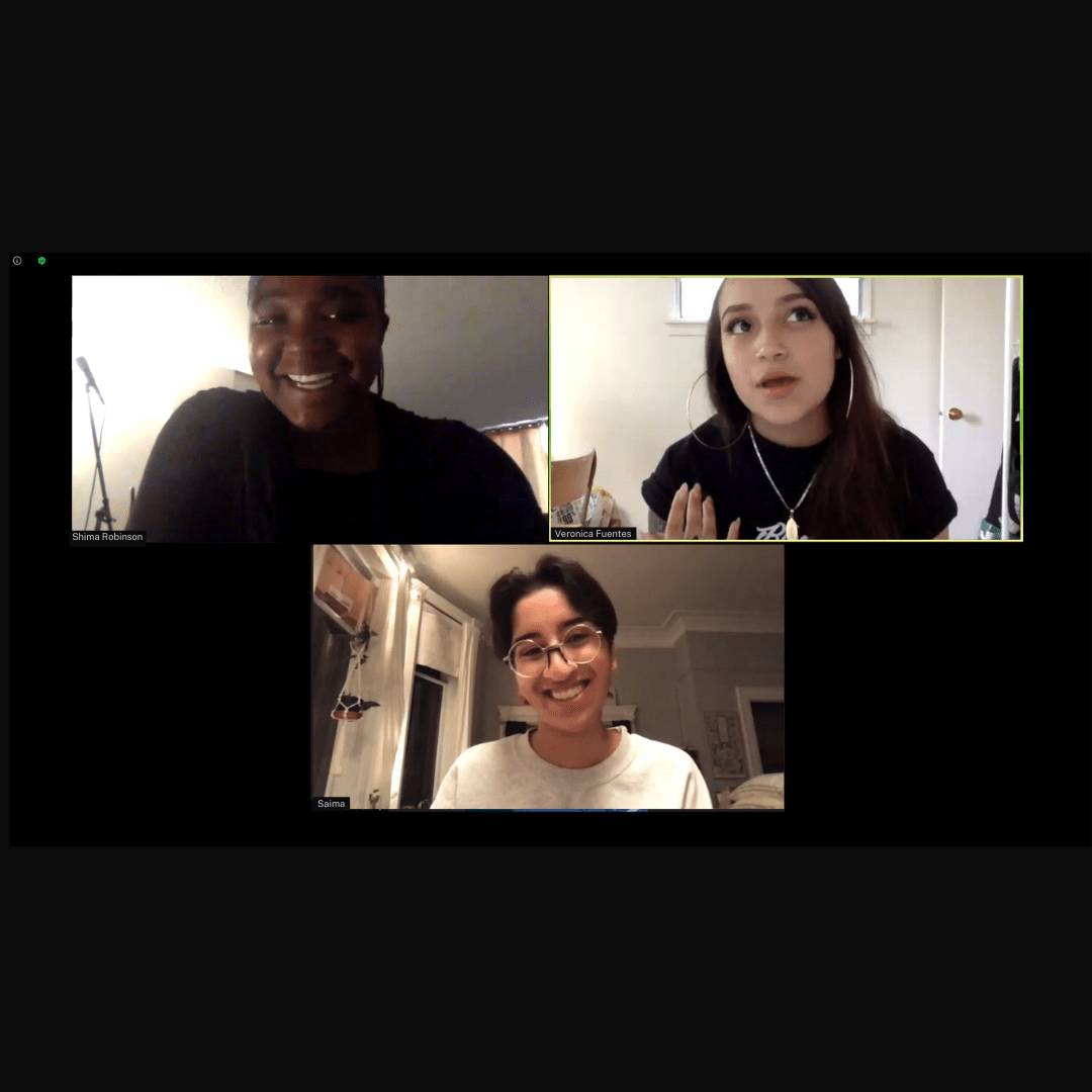 """A screenshot of Shima Robinson, Veronica Fuentes and Saima Desai, during the zoom webinar """"Why Reconciliation Died"""""""