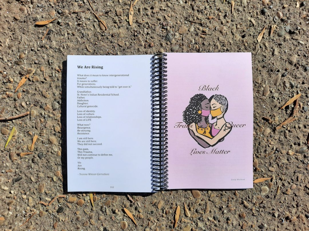 "A spread of the almanac, showing a poem entitled ""We Are Rising"" on the left and an image of two people embracing, both BIPOC and wearing masks. The text overlaid says ""Black Trans Lives Matter"""