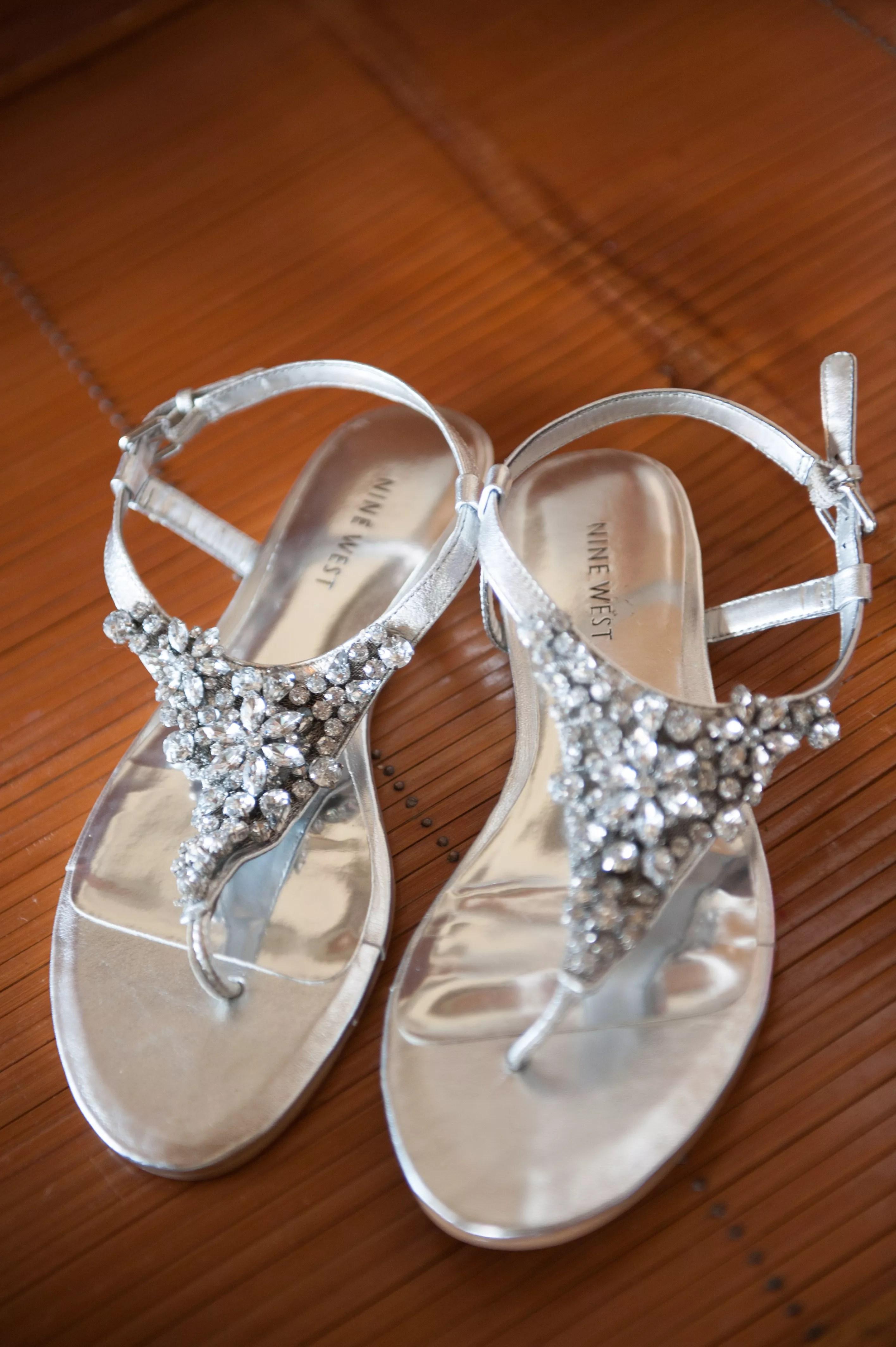 Flat Metallic Jeweled Wedding Sandals