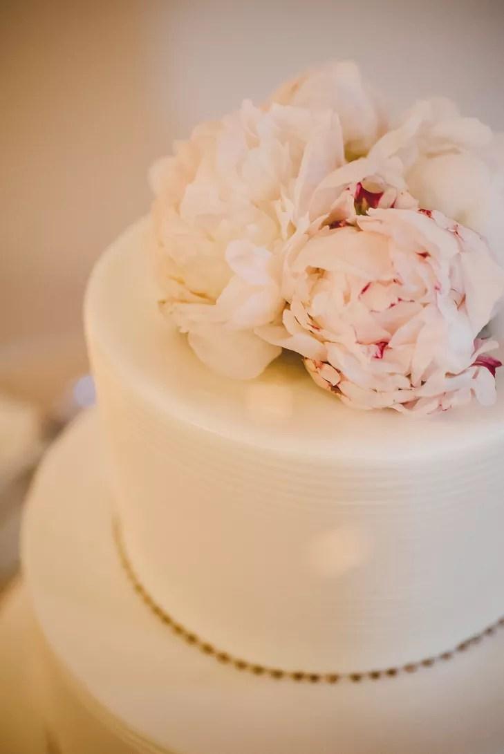 Blush White Peony Wedding Cake Topper