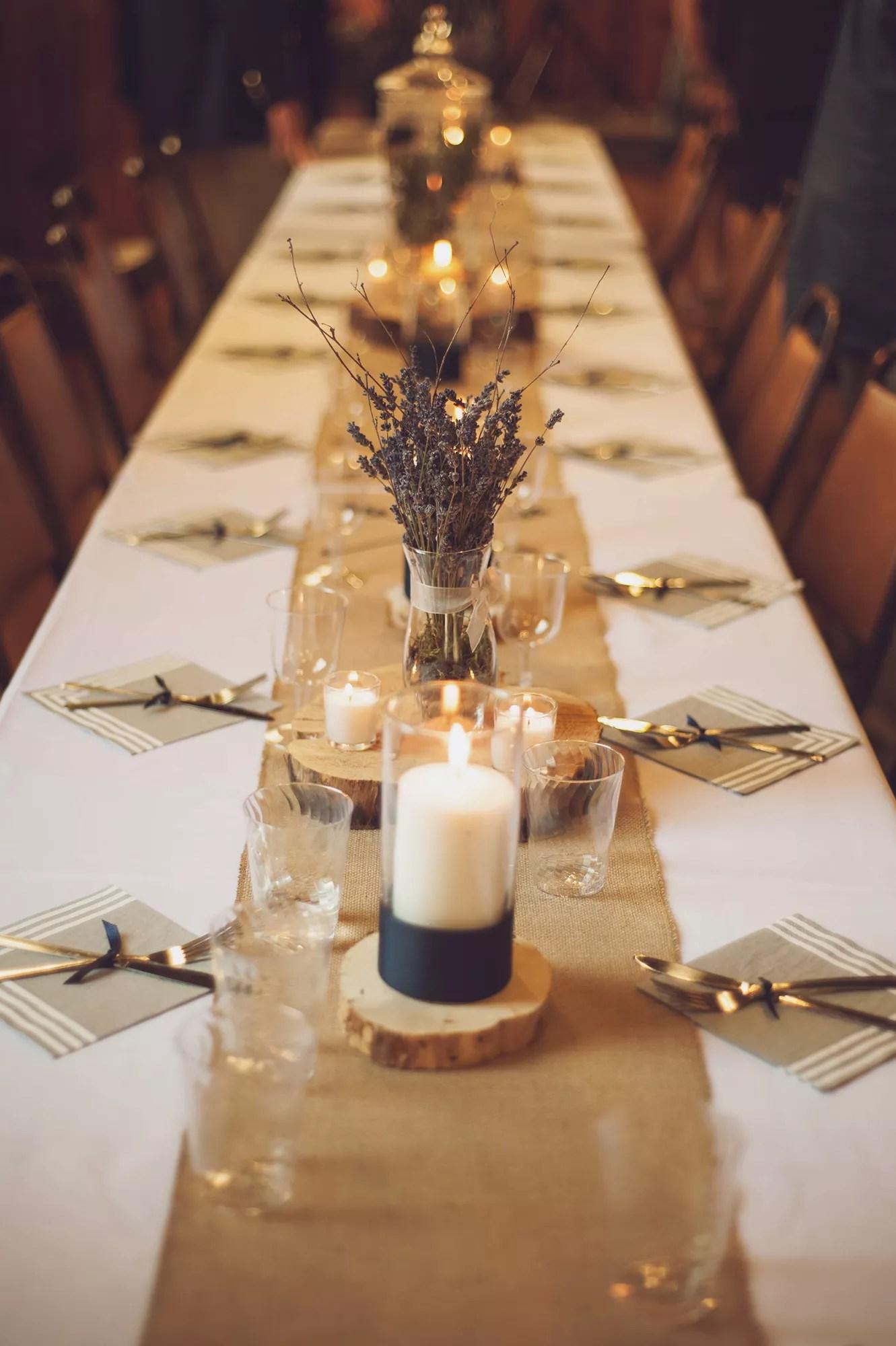 Burlap Runner On White Table