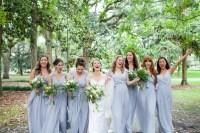 Light Blue-Gray Flowing Bridesmaid Dresses