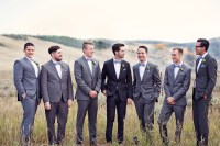 Gray Groomsmen Suits with Blue Bow Ties