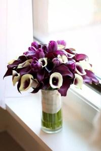 A Purple Tulip and Calla Lily Bouquet