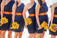 Navy and Orange Bridesmaid Dresses
