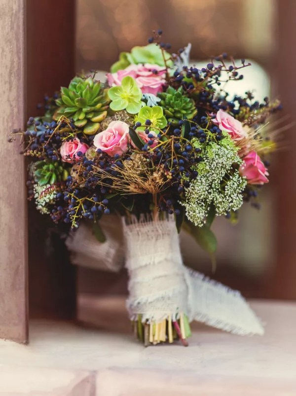 Organic Bridal Bouquet with Succulents and Coral