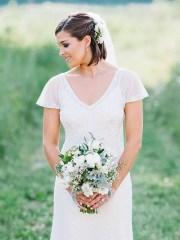 beautiful veiled short wedding