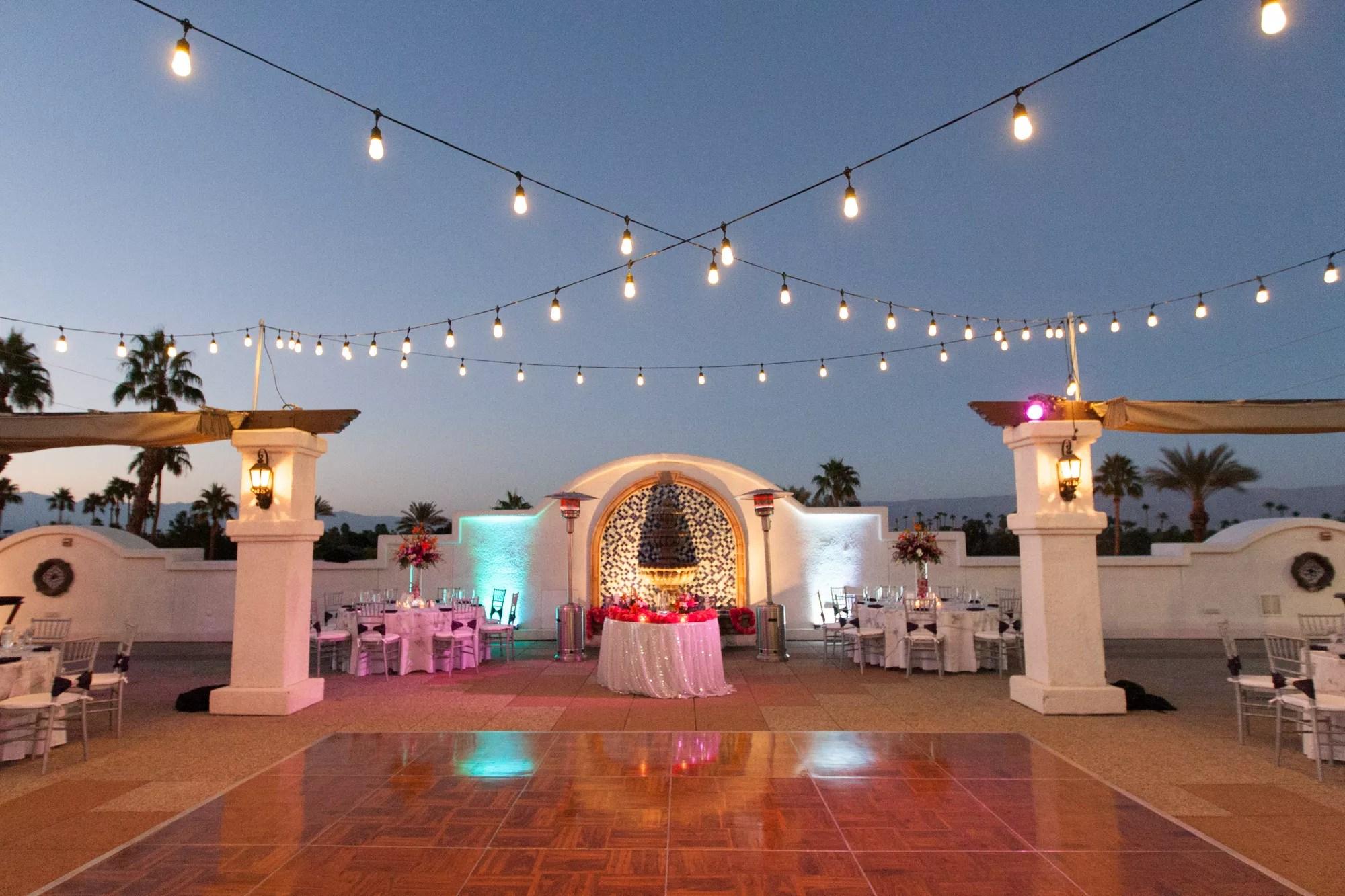 string lights over dance floor
