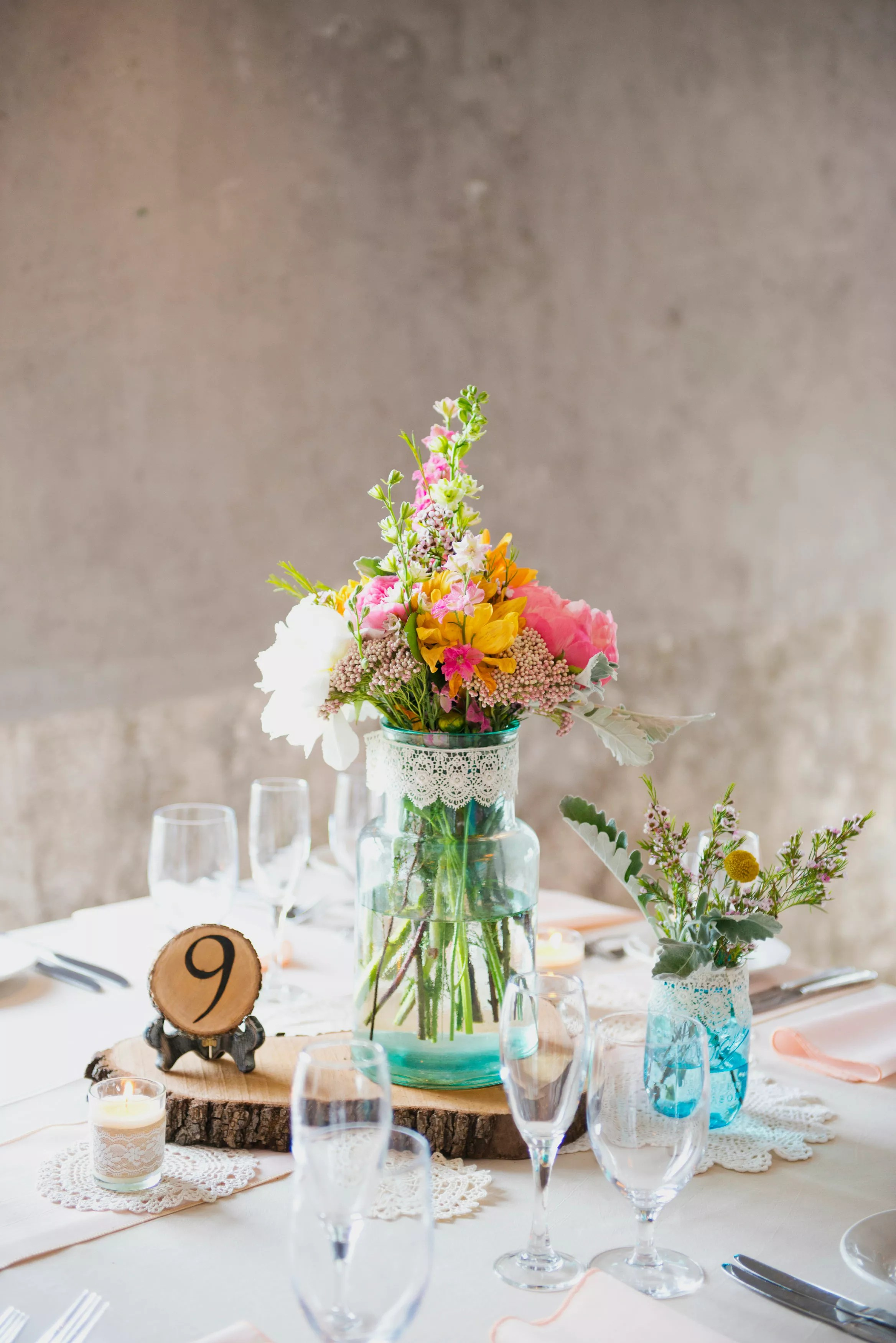 DIY Crochet Doilies And Wooden Slab Centerpieces