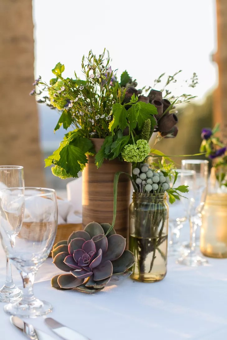 Rustic DIY Centerpieces with Succulents and Greens