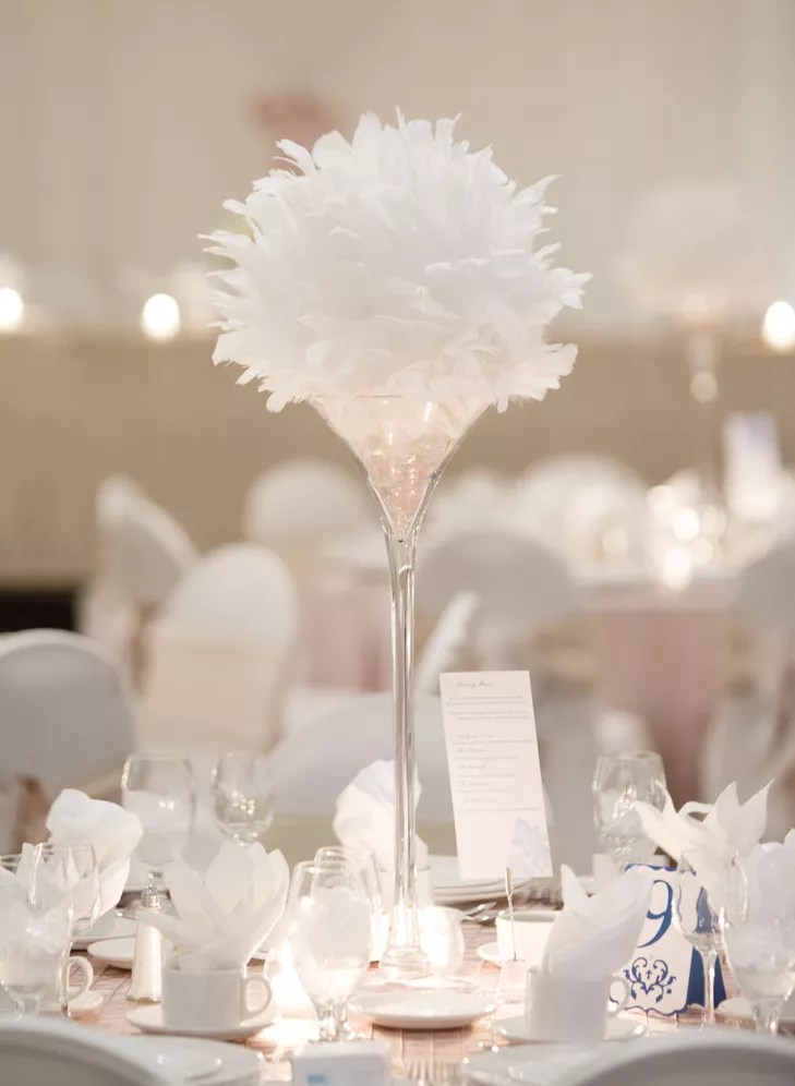 Tall White Feather Centerpieces