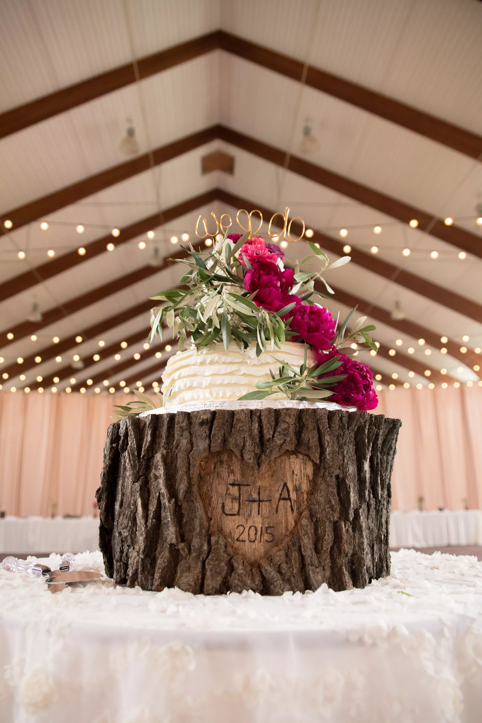 Personalized Tree Trunk Wedding Cake Stand