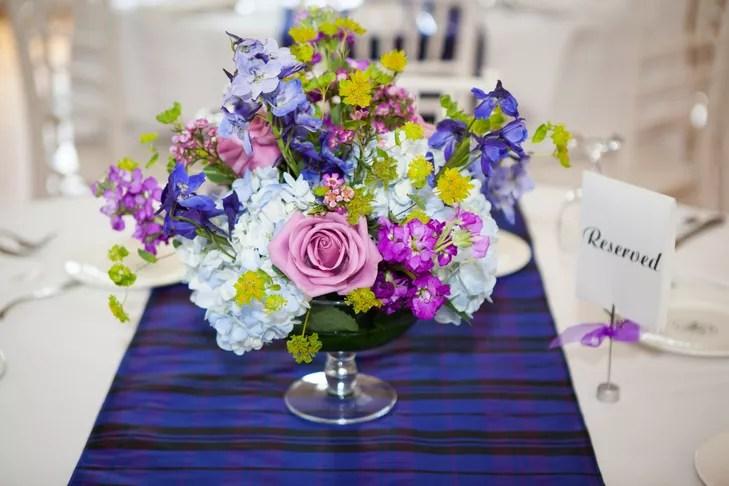 Rose, Hydrangea, Sweet Pea Centerpieces