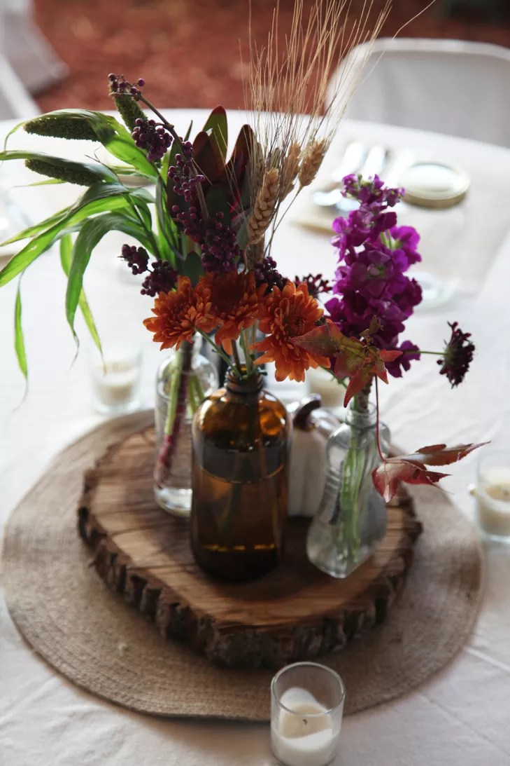 Rustic Purple Orange Centerpieces