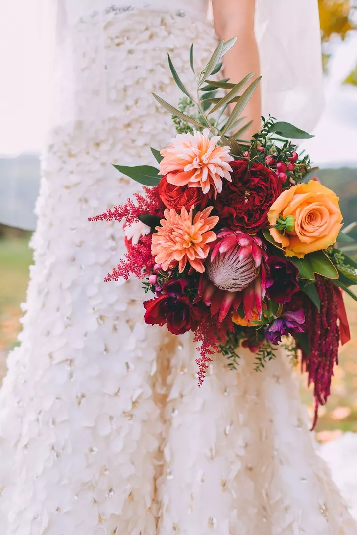 FallColored Protea Rose Astilbe and Dahlia Bouquet