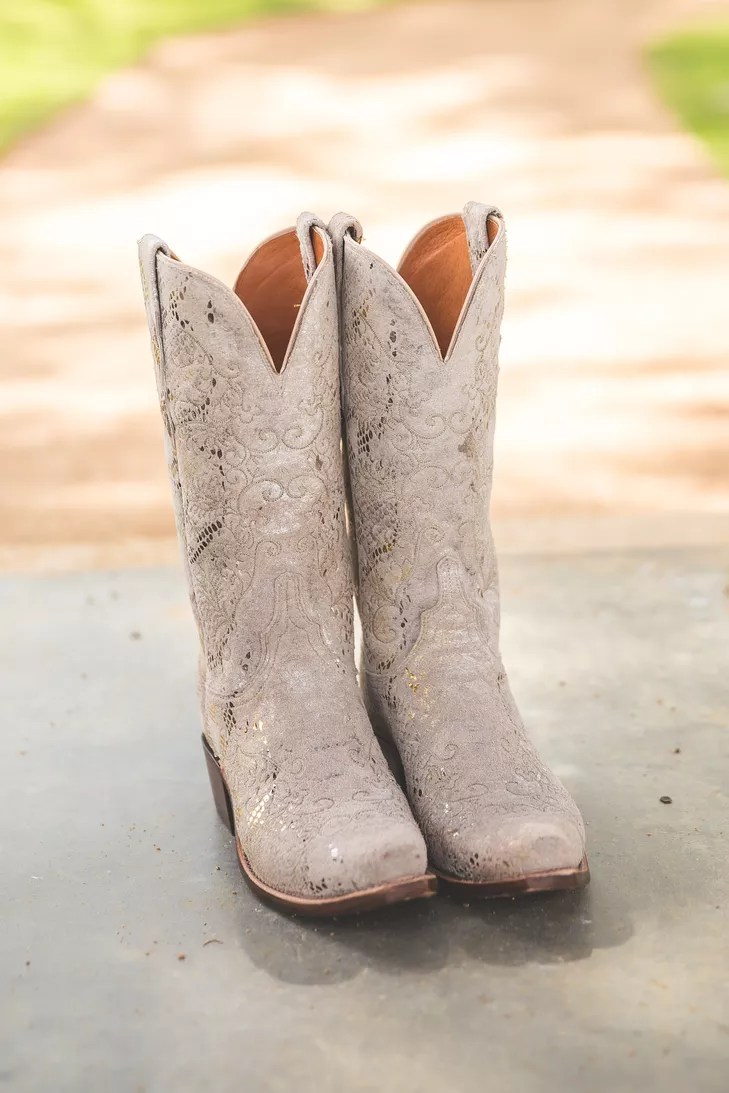 Tan Lucchese Bridal Cowboy Boots