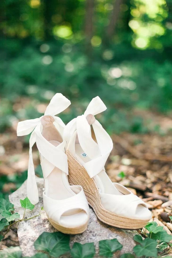 Ivory PeepToe Bridal Wedge Shoes