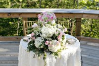 Sweetheart Table with Cascading Pink and White Floral ...