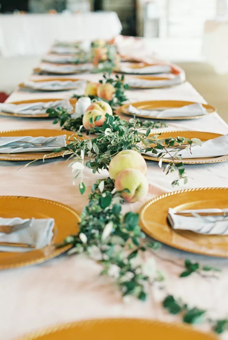 Peach And Green Garland Table Runner