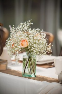 Peach Rose and Baby's Breath Centerpiece