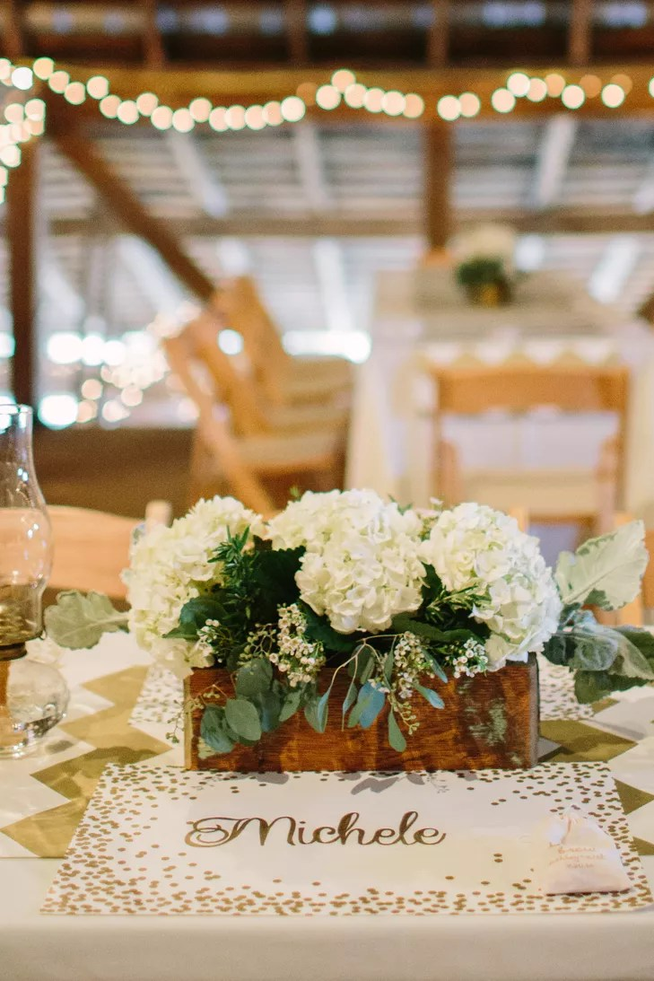 Ivory Hydrangeas in Wood Box Centerpiece