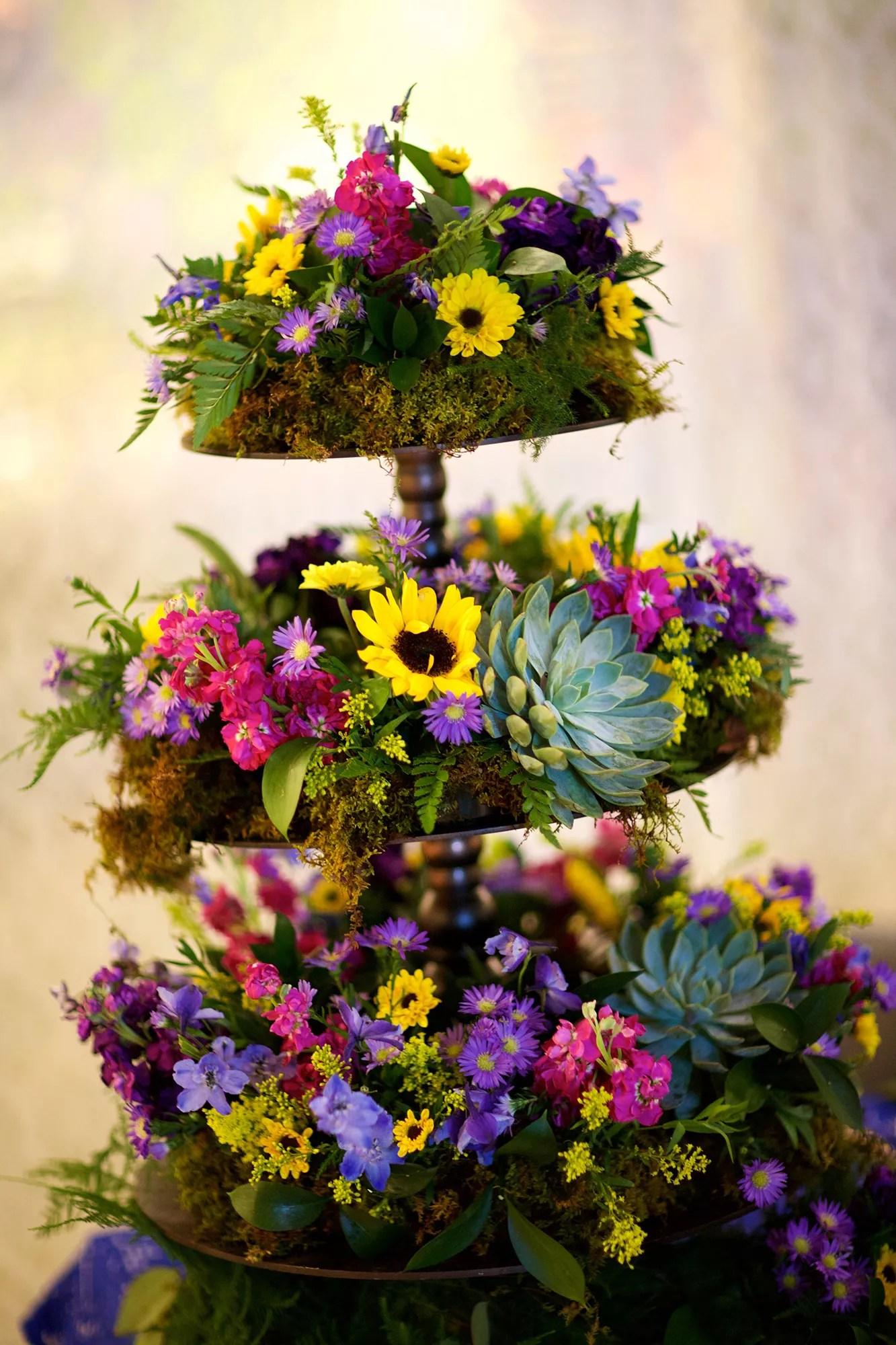 Towering Sunflower Succulent Wildflower Reception Decor