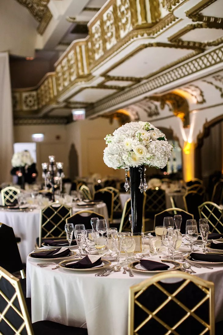 BlackandGold Art DecoInspired Wedding Reception
