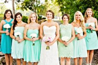 Mixed Mint and Aqua Bridesmaid Dresses