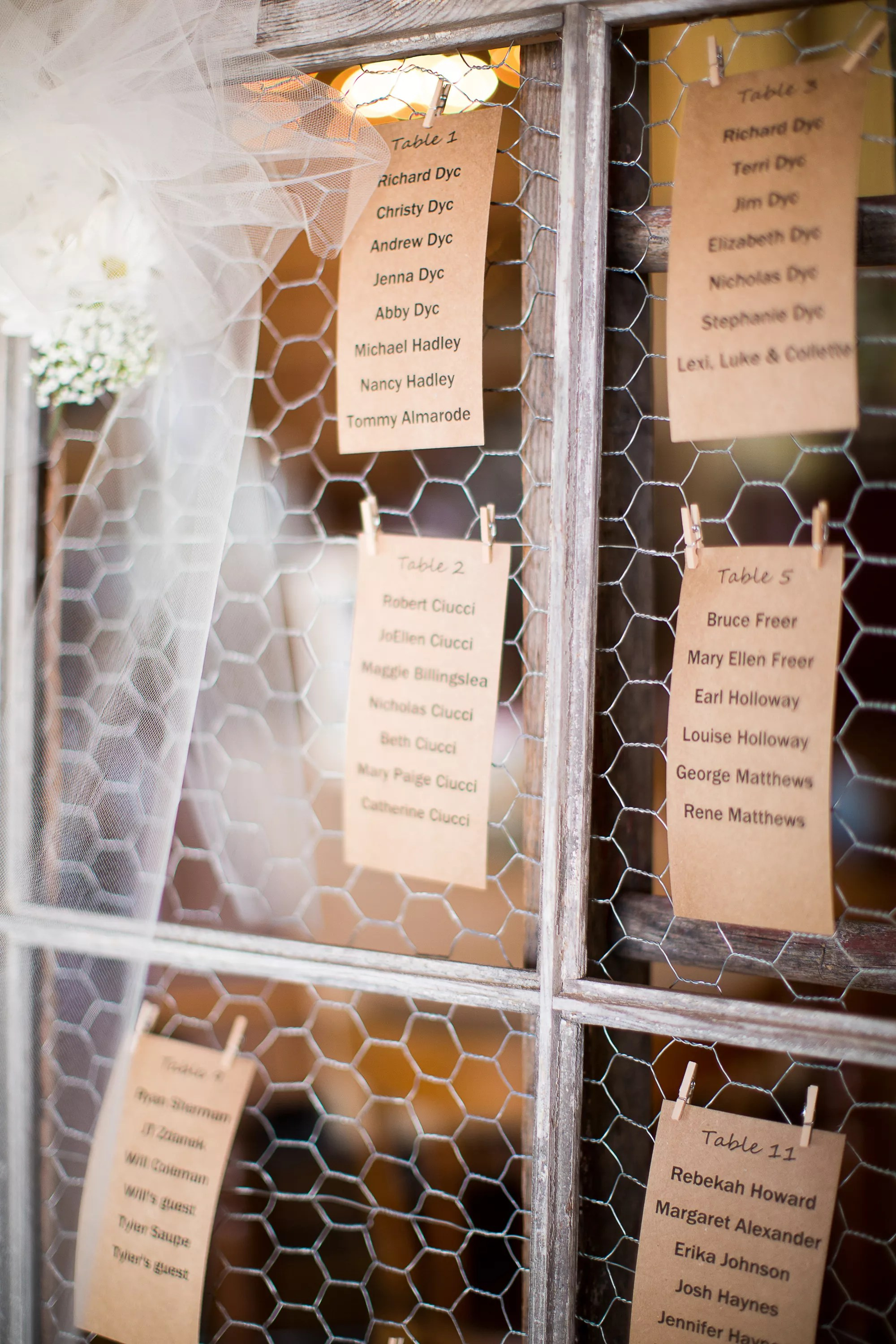 DIY Kraft Paper and Chicken Wire Seating Chart