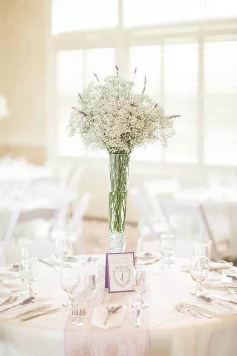 Tall Babys Breath and Lavender Centerpieces