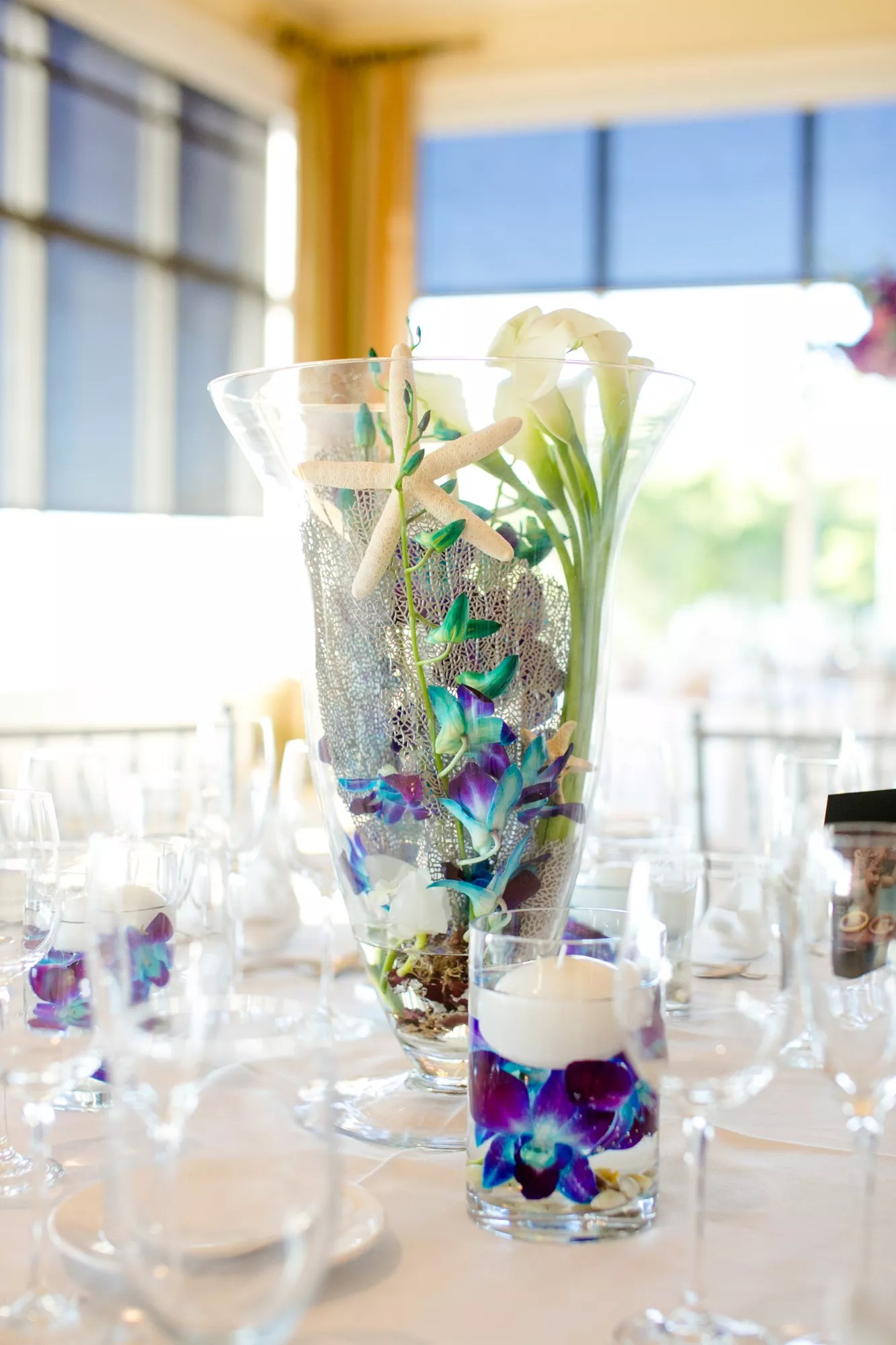 Clear Glass Hurricane Vase Orchid Centerpieces