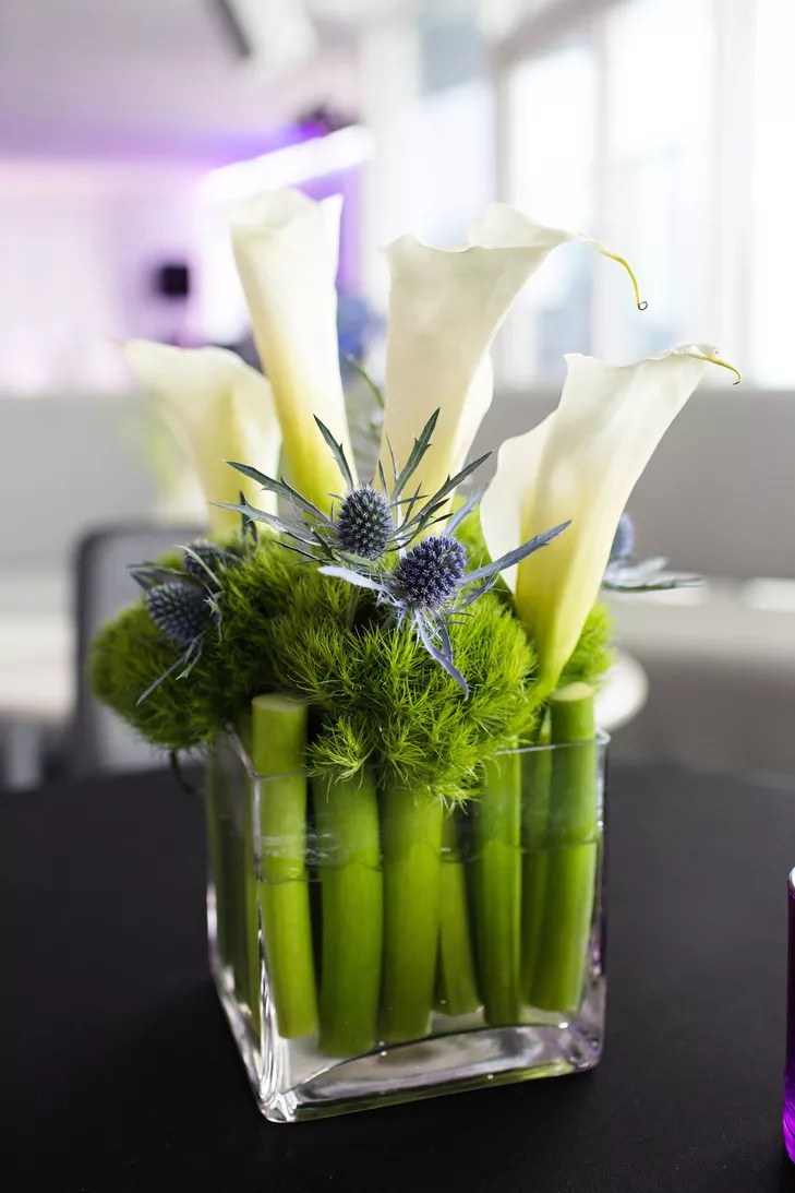 Modern Calla and Thistle Square Centerpiece
