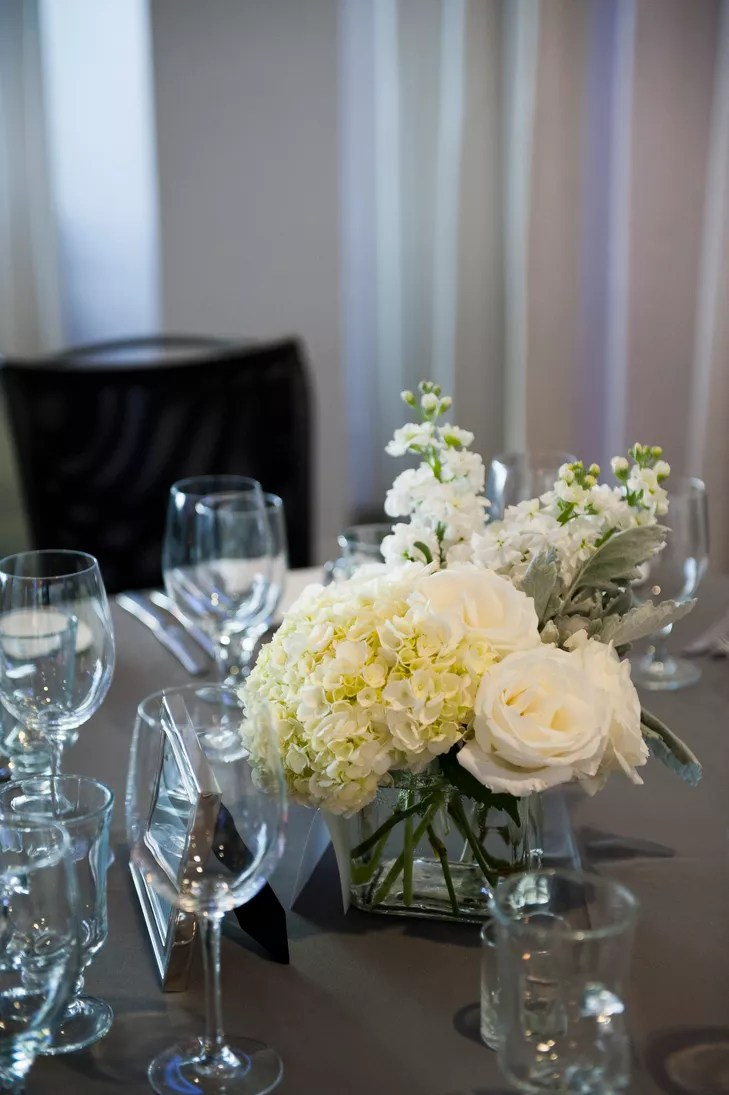 White Hydrangea Rose Lily of the Valley Centerpieces