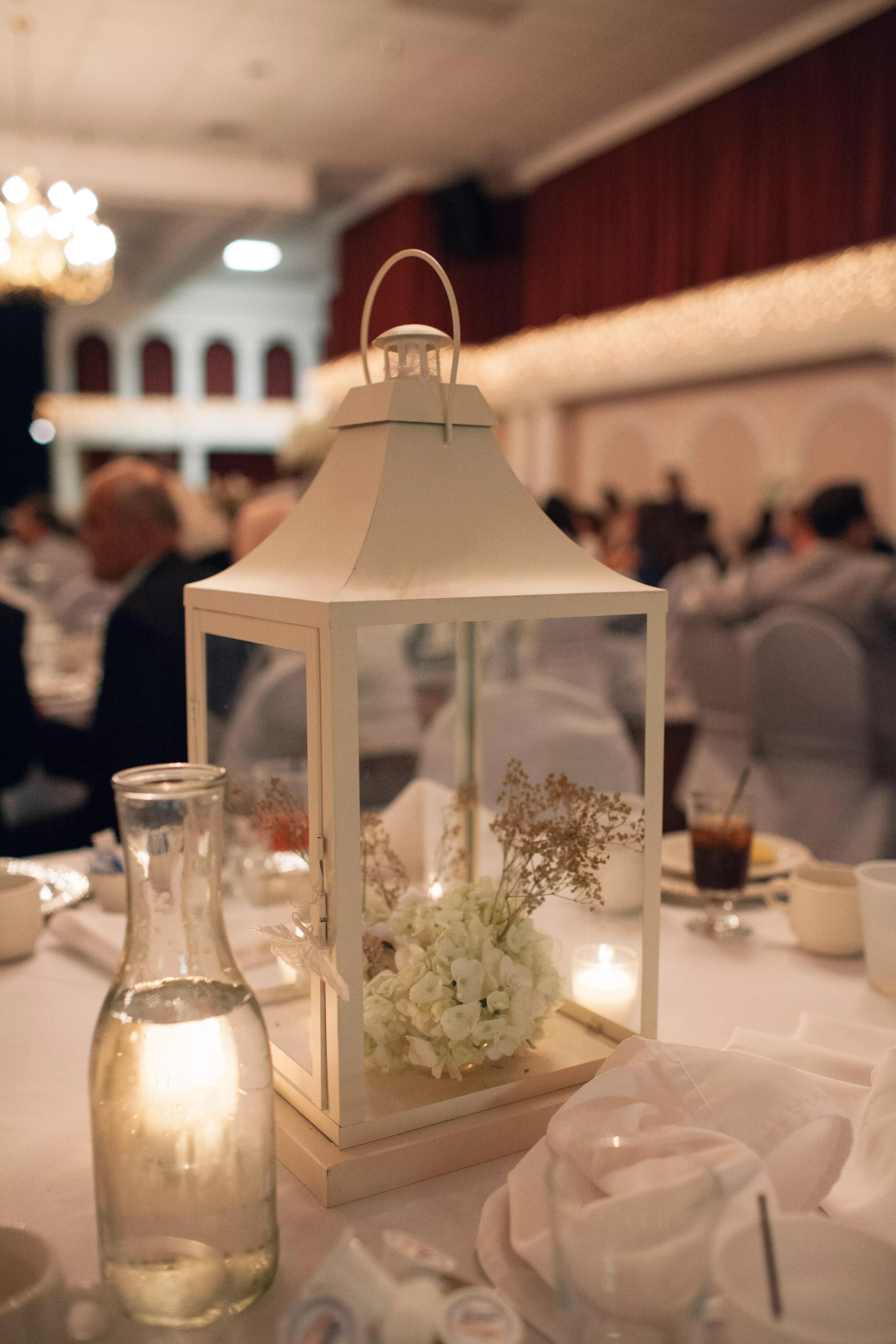 Hydrangea In White Lantern Centerpiece
