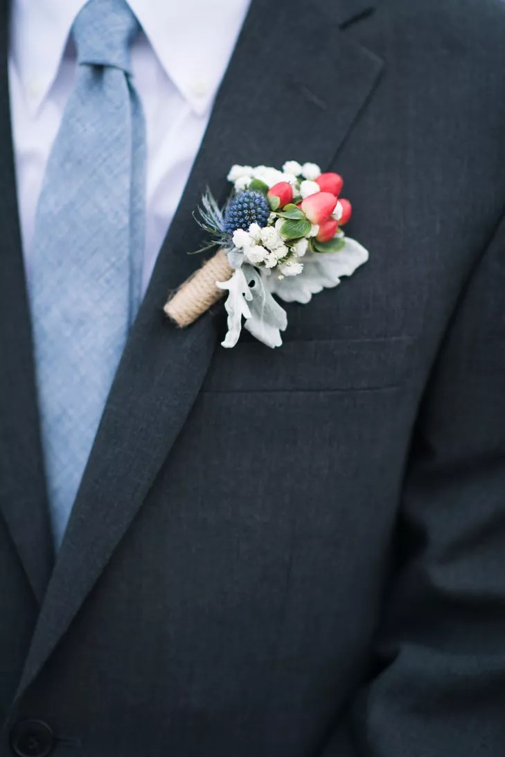 Dusty Blue Grooms Tie with Thistle and Berry Boutonniere