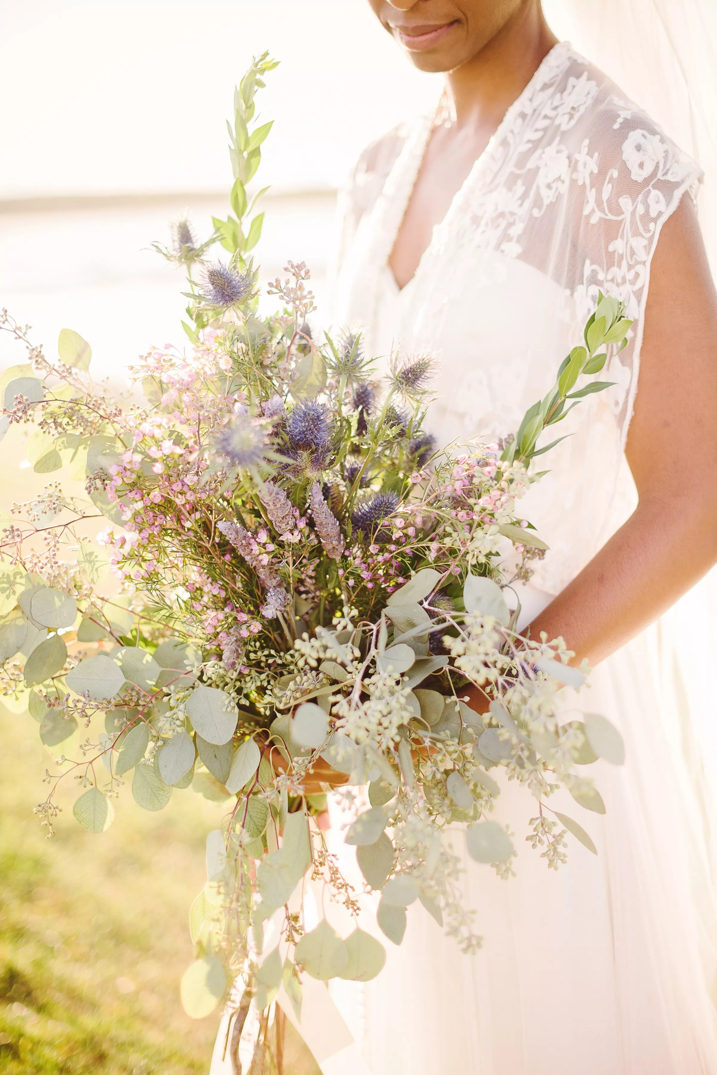 Eucalyptus Lavender and Wax Flower Bridal Bouquet