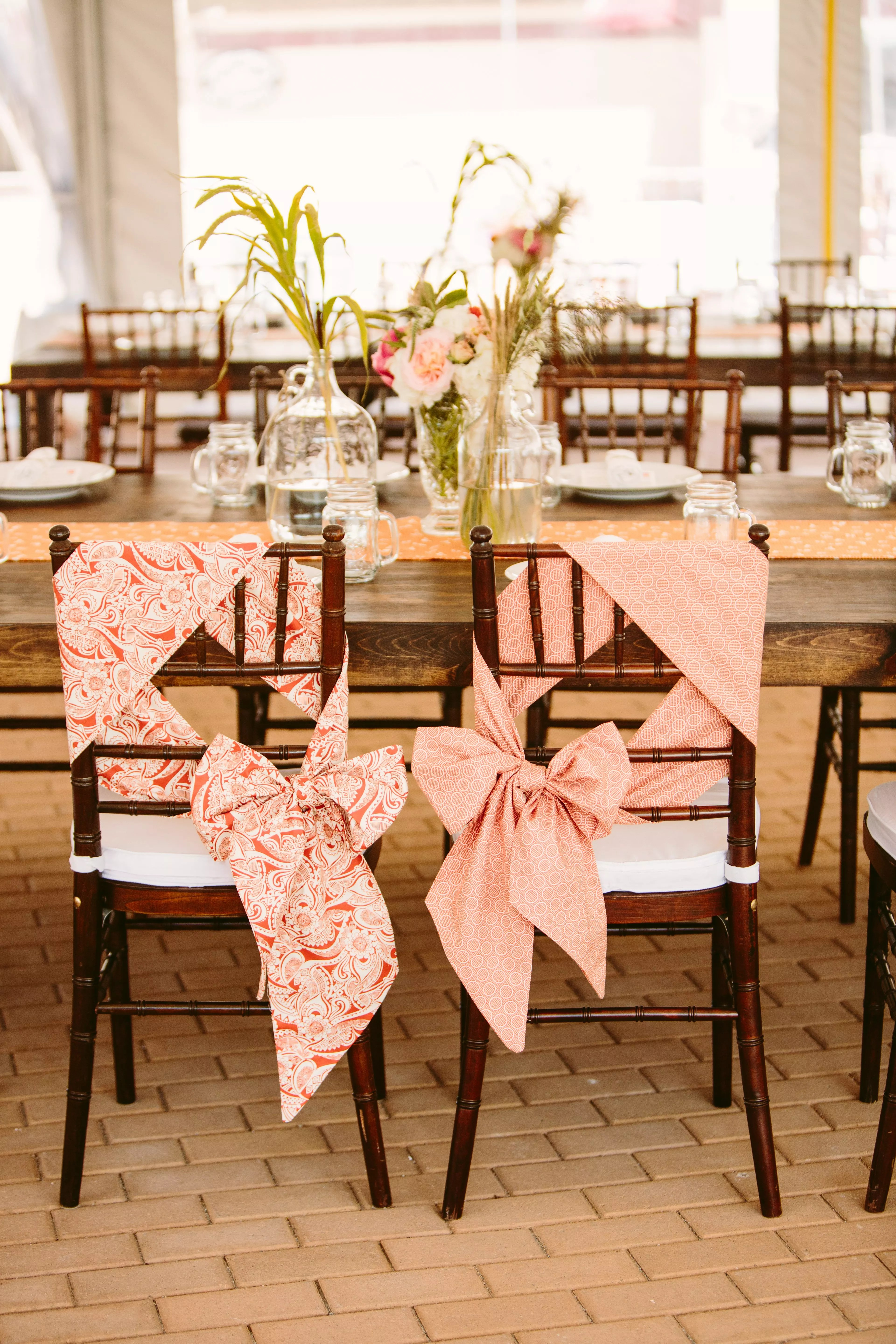 Coral and White Chair Ties