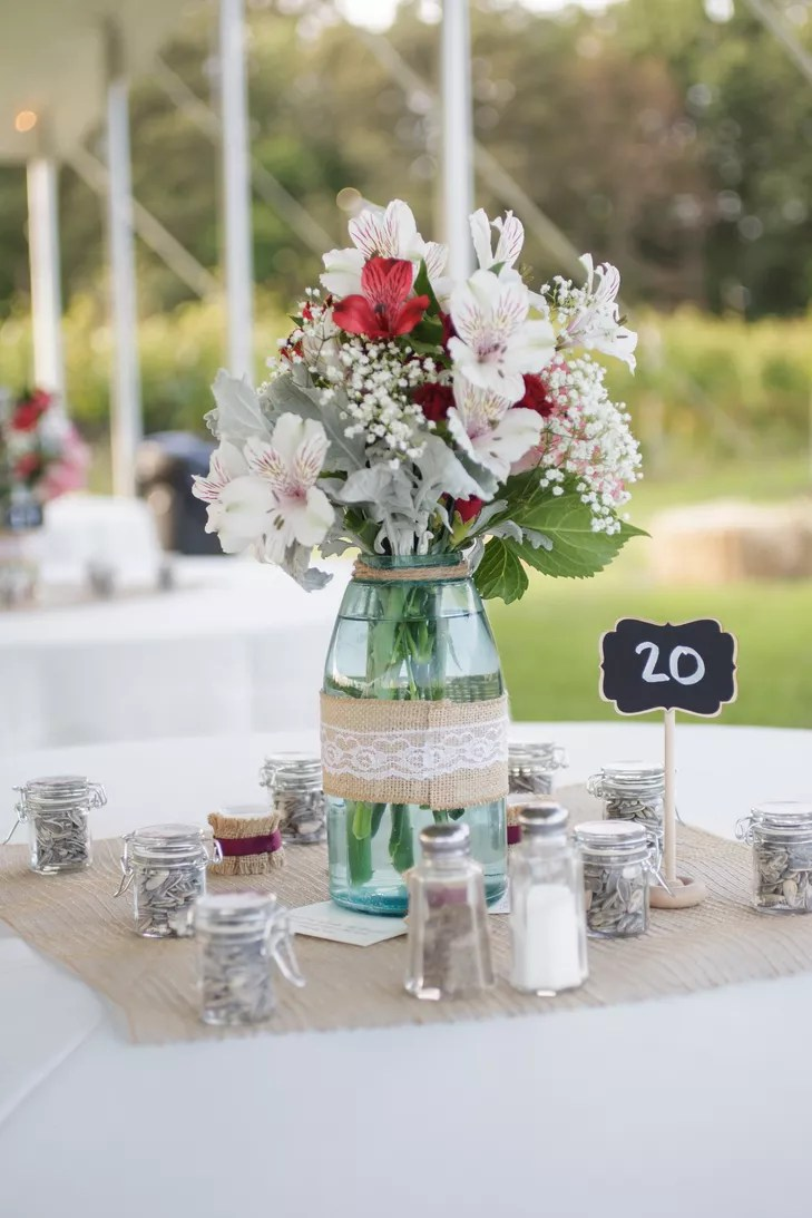 Mason Jar Centerpieces of Alstroemeria with Burlap Accents
