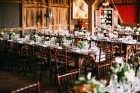 Classy Barn Reception with Farmhouse Tables and Chiavari ...