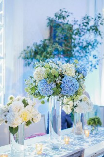 Tall Blue And White Hydrangea Centerpieces