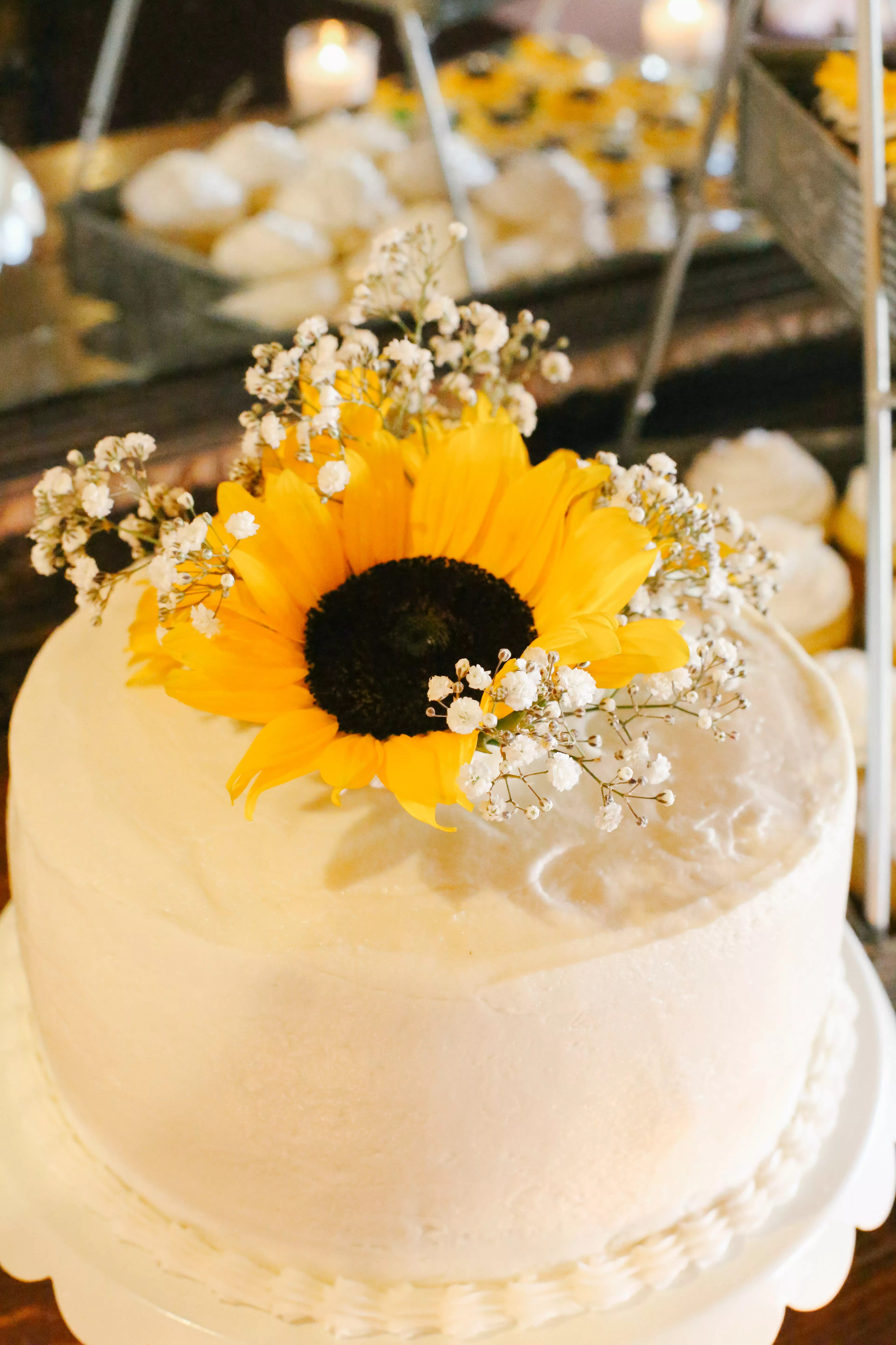Sunflower and Babys Breath Cake Topper
