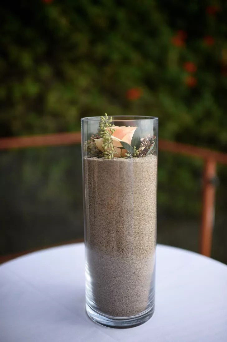 Glass Cylinder Vase Filled with Sand