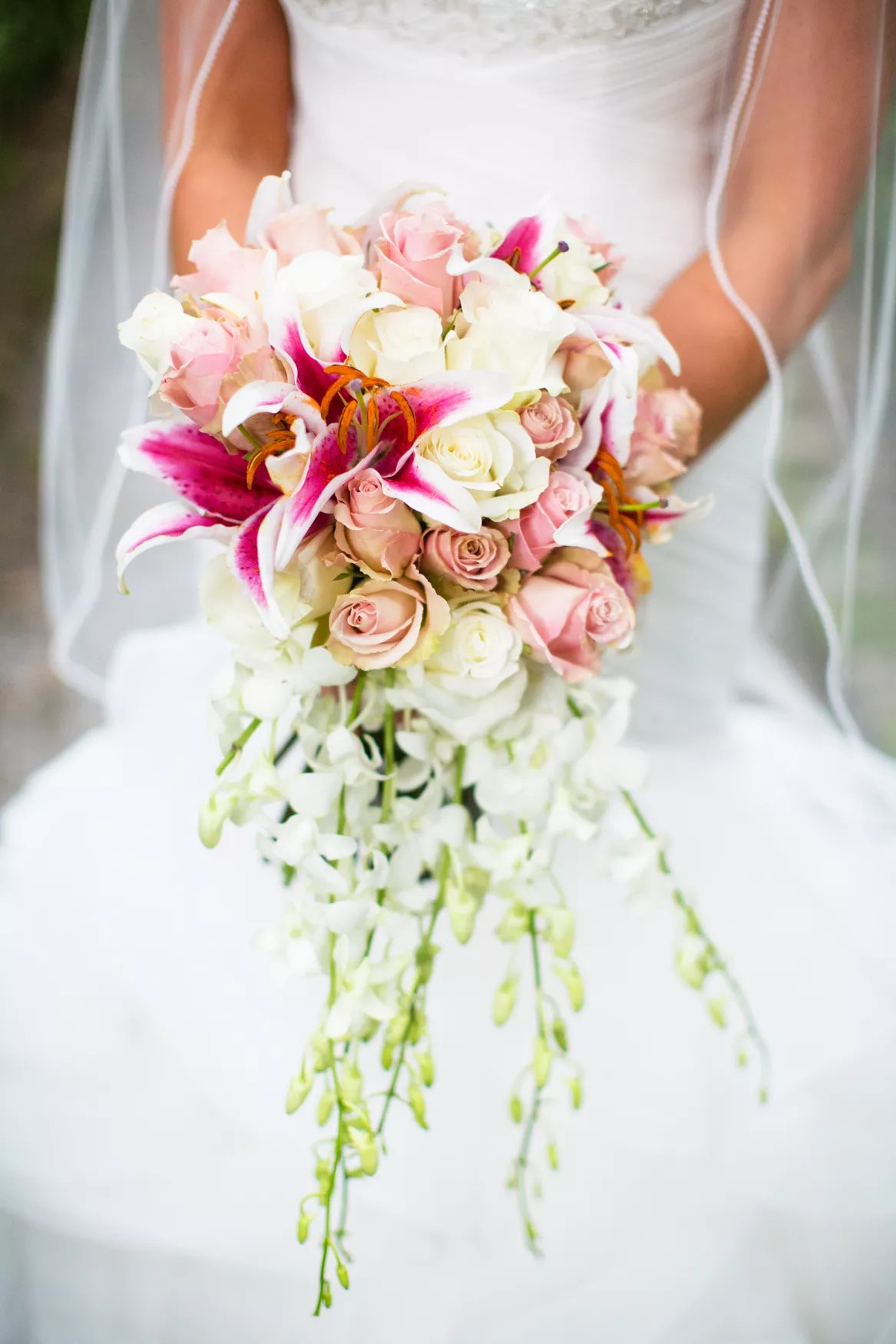 Pink Lily And Rose Cascading Bridal Bouquet