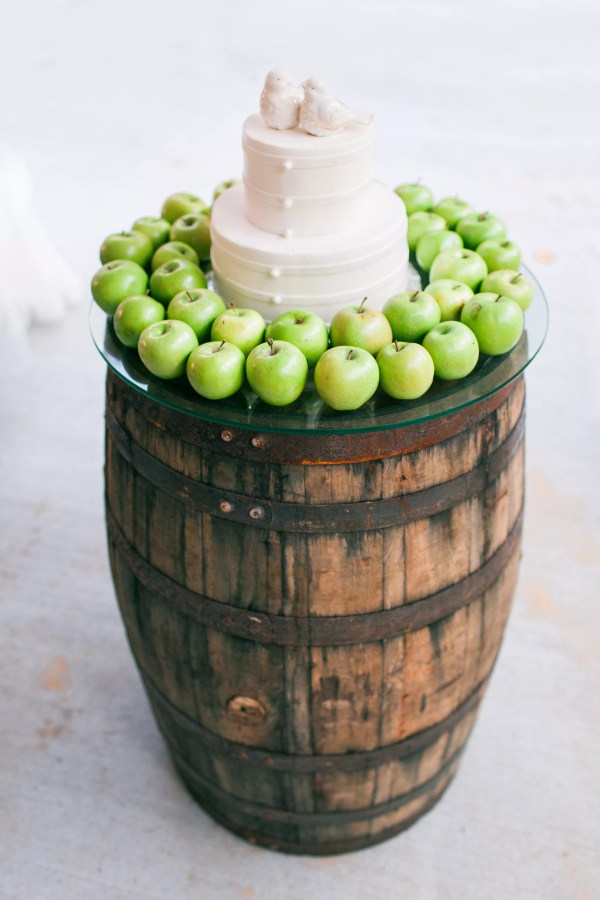 Wooden Barrel And Green Apple Cake Display