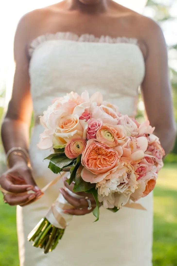 Coral Ranunculus Garden Rose Peony Bridal Bouquet